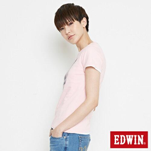【網路限定款。8折優惠↘】EDWIN 3D幾何圓圖 短袖T恤-女款 淺粉紅 2