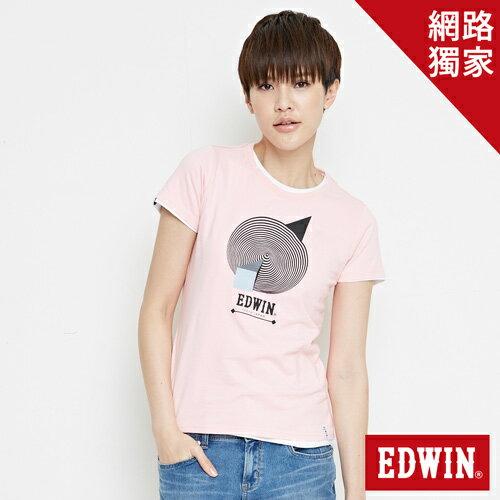 【網路限定款。8折優惠↘】EDWIN 3D幾何圓圖 短袖T恤-女款 淺粉紅 0