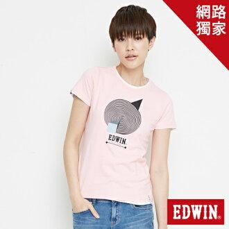 【最愛T恤專區。490元均一價↘】 EDWIN 3D幾何圓圖 短袖T恤-女款 淺粉紅【單筆滿1000 | 結帳輸入序號loveyou-100再折100↘數量有限↘限用一次】