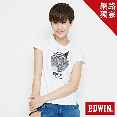【最愛T恤專區。490元均一價↘】 EDWIN 3D幾何圓圖 短袖T恤-女款 白色【單筆滿1000 | 結帳輸入序號loveyou-100再折100↘數量有限↘限用一次】