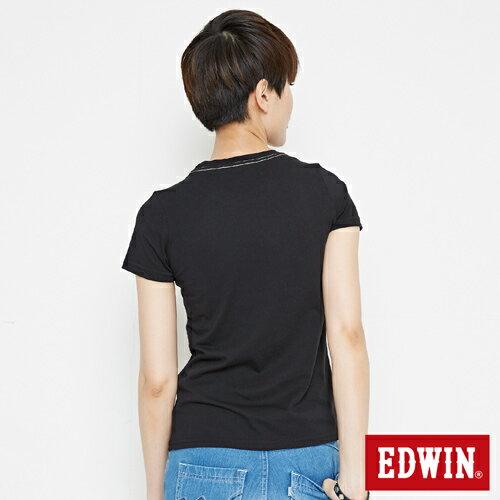 【網路限定款。8折優惠↘】EDWIN 3D幾何圓圖 短袖T恤-女款 黑色 1