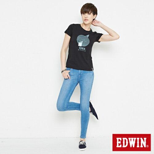 【網路限定款。8折優惠↘】EDWIN 3D幾何圓圖 短袖T恤-女款 黑色 3