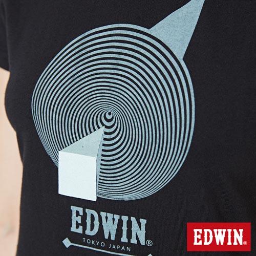 【網路限定款。8折優惠↘】EDWIN 3D幾何圓圖 短袖T恤-女款 黑色 4