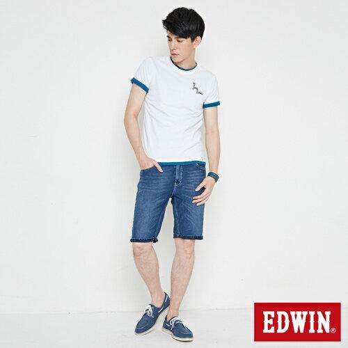 【網路限定款。8折優惠↘】EDWIN 條紋W LOGO 短袖T恤-男款 白色 3