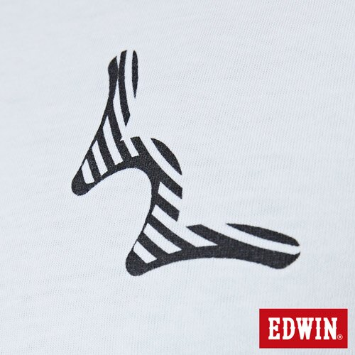 【網路限定款。8折優惠↘】EDWIN 條紋W LOGO 短袖T恤-男款 白色 4