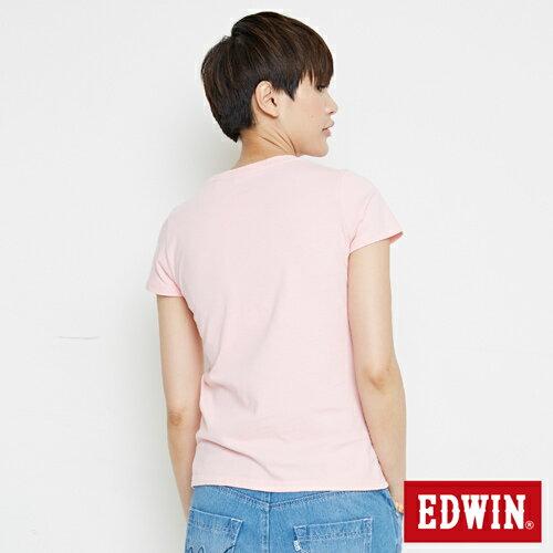 【網路限定款。8折優惠↘】EDWIN 條紋W LOGO 短袖T恤-女款 淺粉紅 1