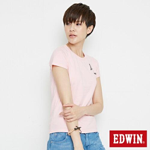 【網路限定款。8折優惠↘】EDWIN 條紋W LOGO 短袖T恤-女款 淺粉紅 2