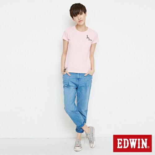 【網路限定款。8折優惠↘】EDWIN 條紋W LOGO 短袖T恤-女款 淺粉紅 3