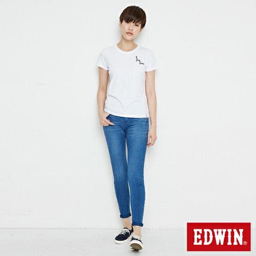 【網路限定款。8折優惠↘】EDWIN 條紋W LOGO 短袖T恤-女款 白色 3