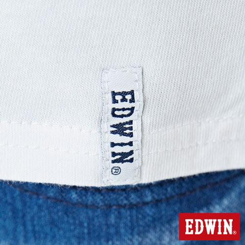 【網路限定款。8折優惠↘】EDWIN 條紋W LOGO 短袖T恤-女款 白色 5