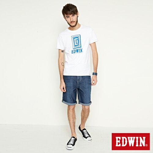 【網路限定款。8折優惠↘】EDWIN 延伸方框LOGO 短袖T恤-男款 白色 3