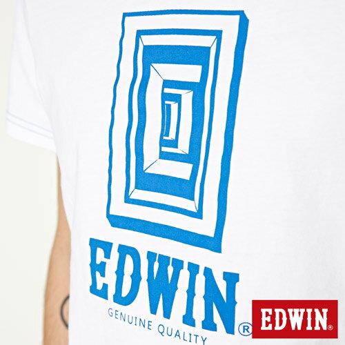 【網路限定款。8折優惠↘】EDWIN 延伸方框LOGO 短袖T恤-男款 白色 4