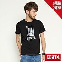 EDWIN 延伸方框LOGO 短袖T恤-男款 黑色