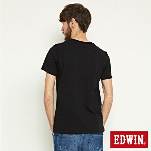 【網路限定款。8折優惠↘】EDWIN 3D裸視E字 短袖T恤-男款 黑色 1