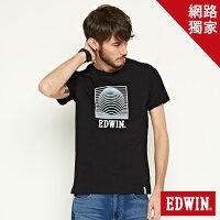 EDWIN 3D裸視E字 短袖T恤-男款 黑色