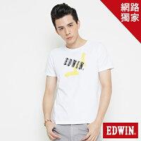 EDWIN 街頭塗鴉LOGO 短袖T恤-男款 白色-EDWIN-潮流男裝