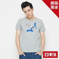 EDWIN 街頭塗鴉LOGO 短袖T恤-男款 麻灰色