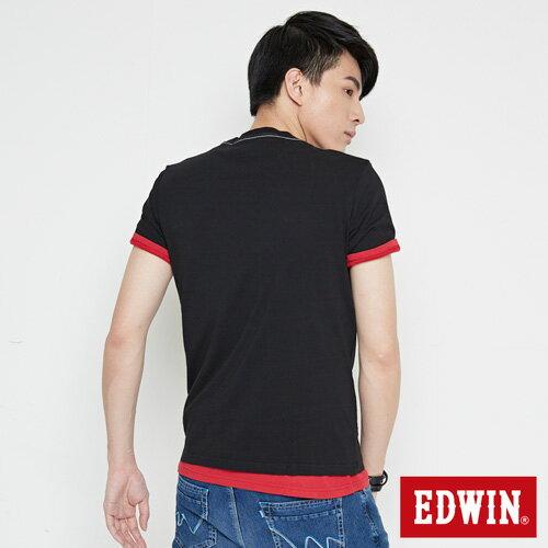 【網路限定款。8折優惠↘】EDWIN 九宮格疊影 短袖T恤-男-黑色 1