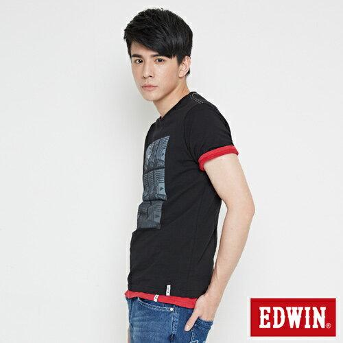 【網路限定款。8折優惠↘】EDWIN 九宮格疊影 短袖T恤-男-黑色 2