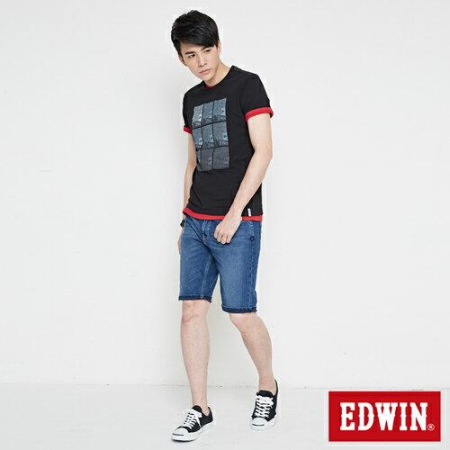 【網路限定款。8折優惠↘】EDWIN 九宮格疊影 短袖T恤-男-黑色 3