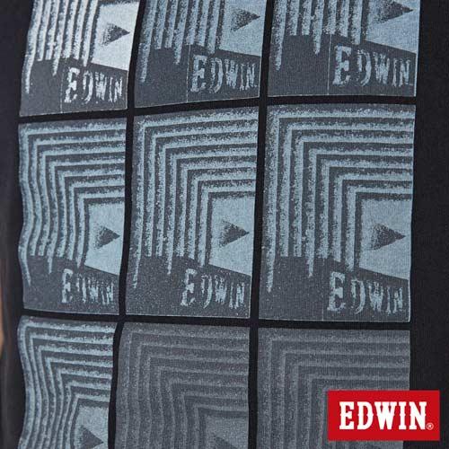 【網路限定款。8折優惠↘】EDWIN 九宮格疊影 短袖T恤-男-黑色 4