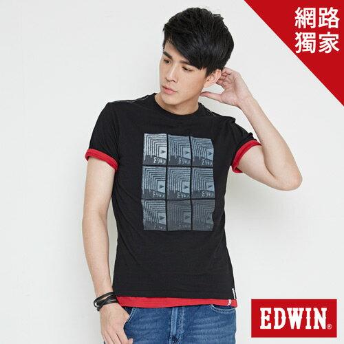 【網路限定款。8折優惠↘】EDWIN 九宮格疊影 短袖T恤-男-黑色 0