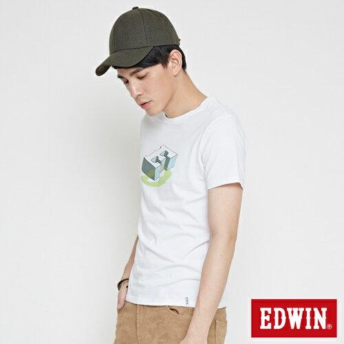 【網路限定款。8折優惠↘】EDWIN 限定配色立方ED 短袖T恤-男款 白色 2