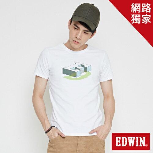 【網路限定款。8折優惠↘】EDWIN 限定配色立方ED 短袖T恤-男款 白色 0
