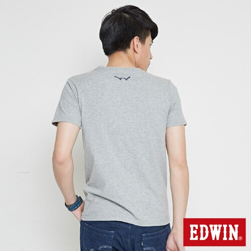 【網路限定款。8折優惠↘】EDWIN 限定配色立方ED 短袖T恤-男款 麻灰色 1