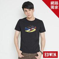 EDWIN 限定配色立方ED 短袖T恤-男款 黑色