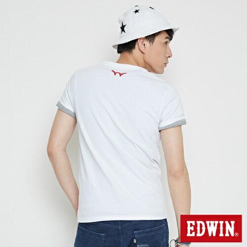 【最愛T恤。專區490元均一價↘】EDWIN 立體錯位圖形 短袖T恤-男款 白色 1