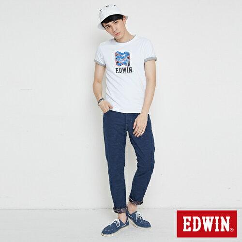 【網路限定款。8折優惠↘】EDWIN 立體錯位圖形 短袖T恤-男款 白色 3