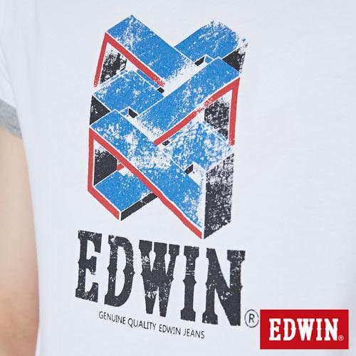 【網路限定款。8折優惠↘】EDWIN 立體錯位圖形 短袖T恤-男款 白色 4