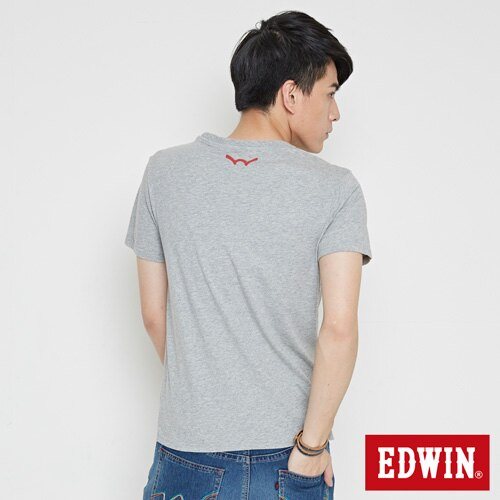 【SOY感謝慶。2件839元↘】EDWIN 立體錯位圖形 短袖T恤-男款 麻灰色【6/26-7/3 AM09:59】【點數加碼10+10倍↘】 1