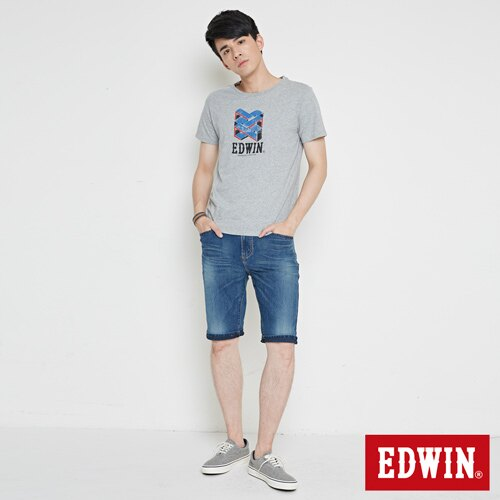 【SOY感謝慶。2件839元↘】EDWIN 立體錯位圖形 短袖T恤-男款 麻灰色【6/26-7/3 AM09:59】【點數加碼10+10倍↘】 3