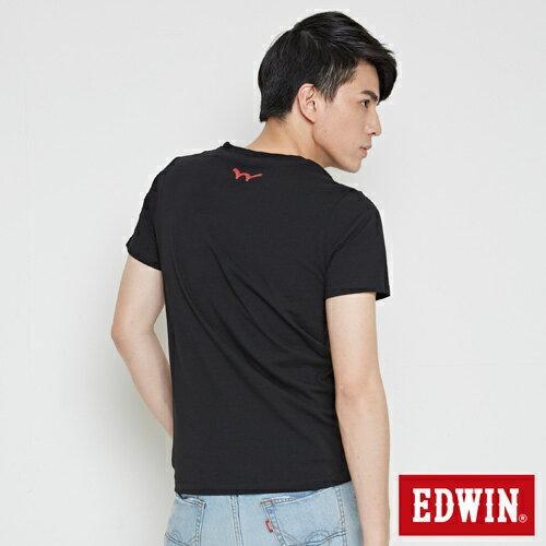 【網路限定款。8折優惠↘】EDWIN 立體錯位圖形 短袖T恤-男款 黑色 1