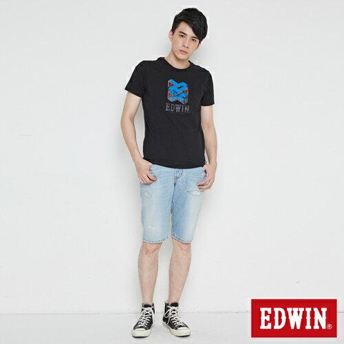 【網路限定款。8折優惠↘】EDWIN 立體錯位圖形 短袖T恤-男款 黑色 3