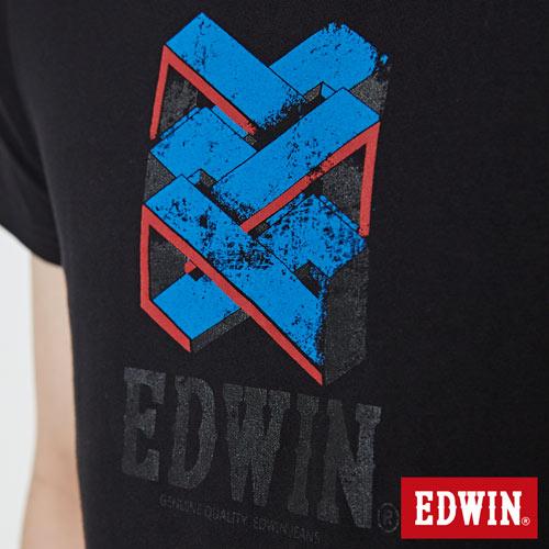【網路限定款。8折優惠↘】EDWIN 立體錯位圖形 短袖T恤-男款 黑色 4