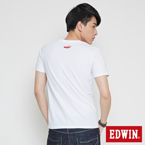 EDWIN 翻玩經典雙LOGO 短袖T恤-男款 白色 1