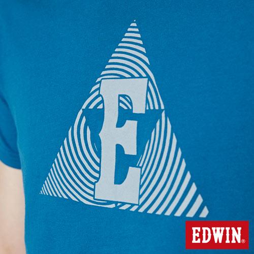 【網路限定款。8折優惠↘】EDWIN 三角漩渦幾何圖 短袖T恤-男款 灰藍色 4