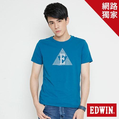 【490元優惠↘】EDWIN 三角漩渦幾何圖 短袖T恤-男款 灰藍色【5月會員 消費滿3000元再賺15%點數】