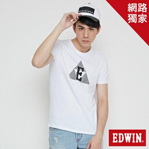 【網路限定款。8折優惠↘】EDWIN 三角漩渦幾何圖 短袖T恤-男款 白色 0