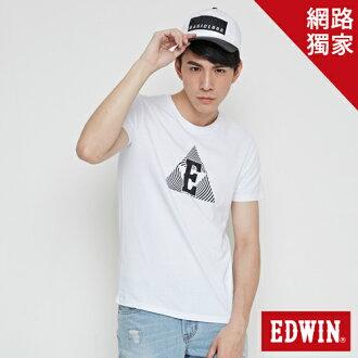 【最愛T恤專區。490元均一價↘】 EDWIN 三角漩渦幾何圖 短袖T恤-男款 白色【單筆滿1000 | 結帳輸入序號loveyou-100再折100↘數量有限↘限用一次】