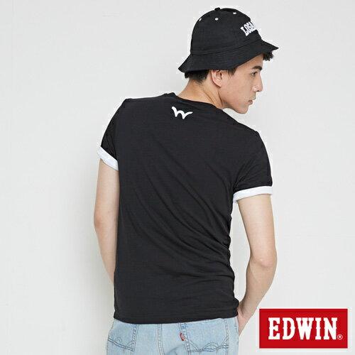 【網路限定款。8折優惠↘】EDWIN 三角漩渦幾何圖 短袖T恤-男款 黑色 1