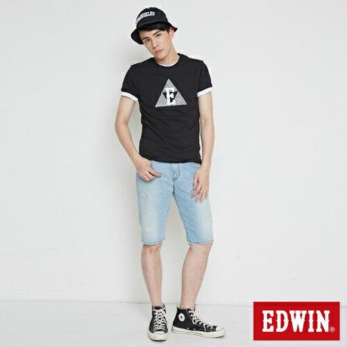 【網路限定款。8折優惠↘】EDWIN 三角漩渦幾何圖 短袖T恤-男款 黑色 3