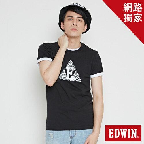 【490元優惠↘】EDWIN 三角漩渦幾何圖 短袖T恤-男款 黑色【5月會員 消費滿3000元再賺15%點數】