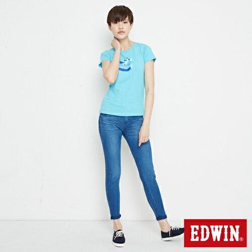 【網路限定款。8折優惠↘】EDWIN 立體夾心ED 短袖T恤-女款 水藍色 3