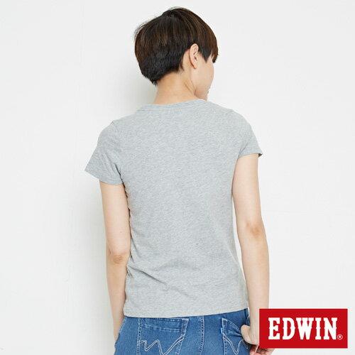 【網路限定款。8折優惠↘】EDWIN 立體夾心ED 短袖T恤-女款 麻灰色 1
