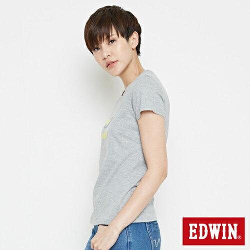 【網路限定款。8折優惠↘】EDWIN 立體夾心ED 短袖T恤-女款 麻灰色 2