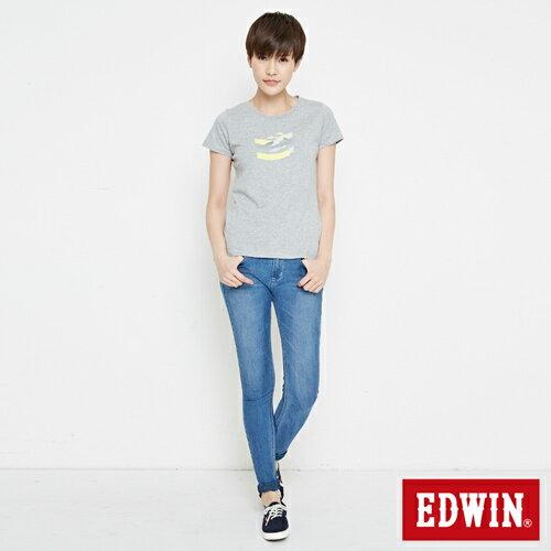 【網路限定款。8折優惠↘】EDWIN 立體夾心ED 短袖T恤-女款 麻灰色 3